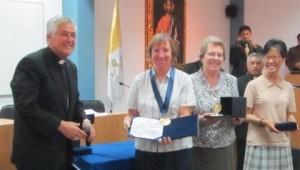 Bishop and the three Columban Sisters representatives