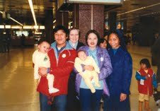 The Dang Family with Srs Mary Greaney and Gloria Santos 26 years ago at Hong Kong Airport before leaving for Germany