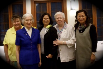 Enjoying being together for the celebrations Sisters Mary McManus, Margaret Devine, Virgie Mozo, Ruth Duckert and Grace de Leon