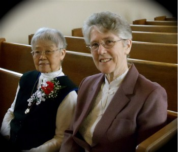 Sister Anna Tseng (Jiangxi Province, China) and Sister Patricia Byrne (HK China) before the Mass