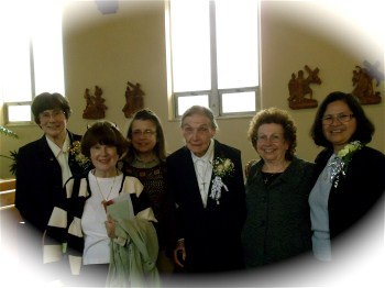 (From left) Sister Jubilarians Corona, Rose and Virgie with friends , Pat Pagano, Rosemary Kulaw and Diane Cezkanski after the Mass
