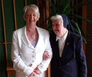 Sister Rosarii with her sister, Margaret Maloney, after the Jubilee Mass