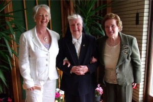 Sister Rosarii's sisters, Margaret Maloney and Kathleen Geoghegan after the Jubilee Mass in Magheramore