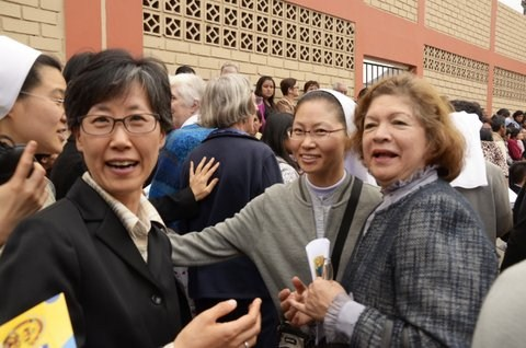Sister Martina Kim with Betty, her former Spanish teache,r and Korean friend enjoying the atmosphere of celebration
