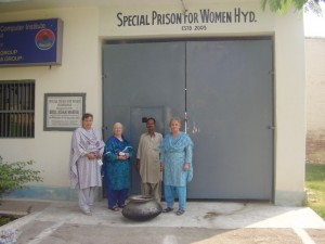 Sisters Roberta Ryan, Patricia Quigley (Columban Sisters Leadership Team), the cook and Sister Rebecca waiting to enter the Women's Jail